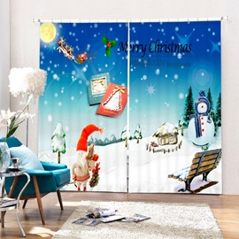 Cute Cartoon Christmas Scenery Printing Christmas Theme 3D Curtain