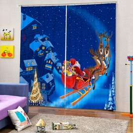 Santa Riding Reindeer in the Snow Printing Christmas Theme Blue 3D Curtain