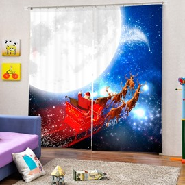 Santa Riding Reindeer by the Moon Printing Christmas Theme 3D Curtain
