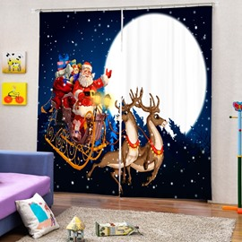Cartoon Santa Riding Reindeer at Noon Printing Christmas Theme 3D Curtain