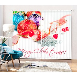 Colorful Christmas Balls and Red Ribbon Printing Christmas Theme 3D Curtain