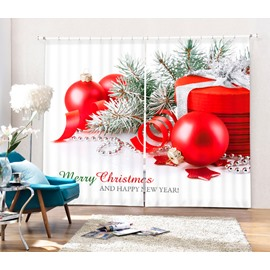 Christmas and Red Balls Printing Christmas Theme 3D Curtain