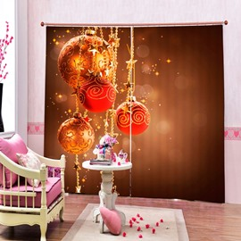 Dreamlike Red Christmas Balls Decor Printing Christmas Theme 3D Curtain