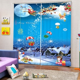 Cartoon Santa Claus Christmas Gifts with White Snow Printing Christmas Theme 3D Curtain