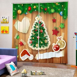 Creative Applique Christmas Tree and Decor Printing Christmas Theme 3D Curtain