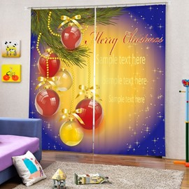 Red Christmas Ball Decor Printing Christmas Theme 3D Curtain