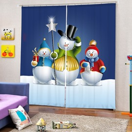 Three Lovely Snowmen Printing Christmas Theme 3D Curtain