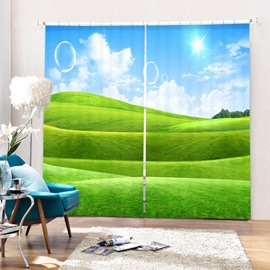 The Green Pastures in Sunny Day Printing 3D Curtain