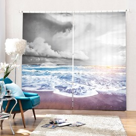 Dark Clouds and Blue Ocean Printing 3D Curtain