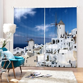 The Beautiful Town in Greece Aegean Sea Printing 3D Curtain