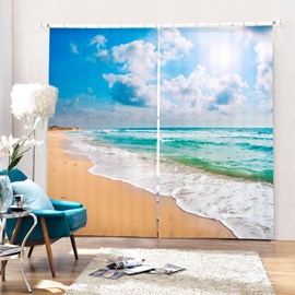 3D Waves and White Clouds Printed Beach Scenery Living Room Polyester Curtain