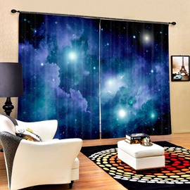 3D Brilliant Night Sky Galaxy Printed Natural Style Decoration and Blackout Polyester Curtain