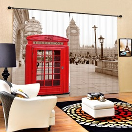 British Red Telephone Box Printing 3D Curtain