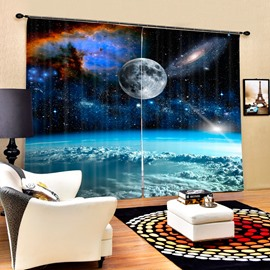 Realistic Planet Surface Space Image Printed 2 Panels Decorative Custom 3D Curtain