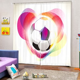 Soccer with Color Circle around Printing 3D Curtain