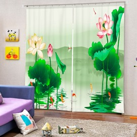 Art Painting Water Lily Printing 3D Curtain