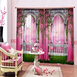 3D Flowers and Swans in Pink World Printed Romantic Style Custom Curtain for Living Room
