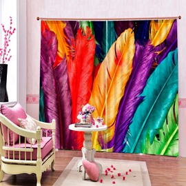 Colorful Feathers Printing Window Treatment 3D Curtain