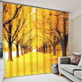 Golden Streets Strewn with Fallen Leaves in Autumn Printing 3D Curtain