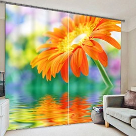 Beautiful Yellow Chrysanthemum Printing 3D Curtain