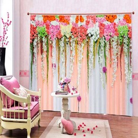 Romantic Flowers Wall Printed 3D Polyester Curtain