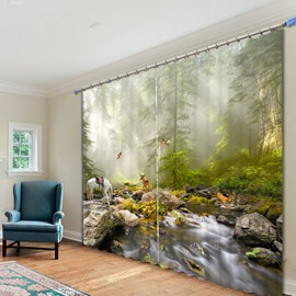 Lovely Animals in the Forest 3D Printed Polyester Curtain