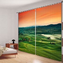 Picturesque Views of the Grassland at Dusk Printed 3D Curtain