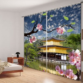 Charming Pink Cherry Blossoms Printed 3D Curtain