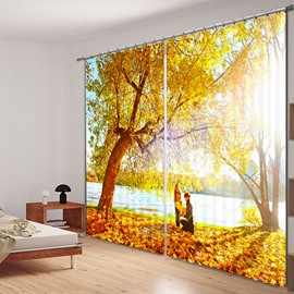 Picnic under the Yellow Tree Printed 3D Curtain