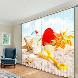 Childlike Toy on the Beach Printed 3D Curtain