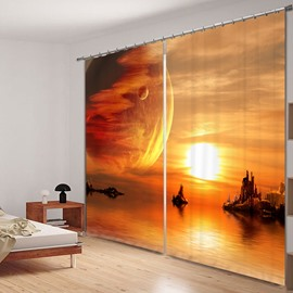 Fairyland Space in Sunset Printed 3D Curtain