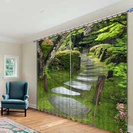 Beautiful Courtyard Printed 3D Polyester Curtain