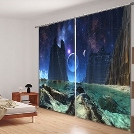 Fantastic Space Scenery Printed 3D Polyester Curtain