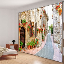 Peaceful Country Road Polyester Printing 3D Curtain