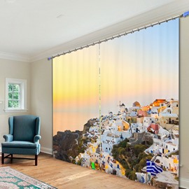Quiet Country View With Blue Sky Printing 3D Curtain