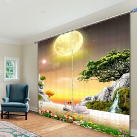 Beautiful Swans Swimming in the Lake Printing 3D Curtain