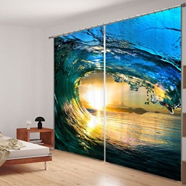 Powerful Waves of the Sea 3D Printed Polyester Custom Curtain for Living Room