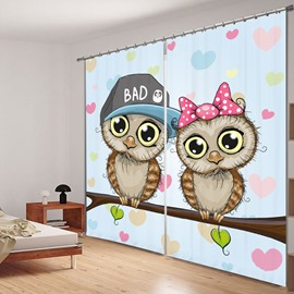 Cute Cartoon Owls Lover 3D Printing Polyester Curtain