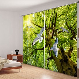 White Pigeons Flying from Tree 3D Printed Polyester Curtain