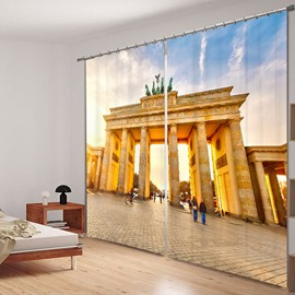 Famous Brandenburg Gate 3D Printed Polyester Curtain
