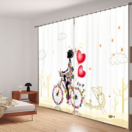 Butterfly Girl Riding the Bike with Love 3D Printing Polyester Curtain