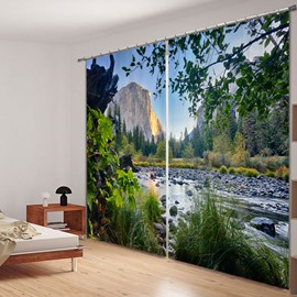 Mountains and Rivers Beautiful Natural Landscape Printed Polyester Custom 3D Curtain