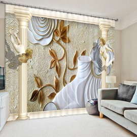 Designer Relief Flower 3D Printed Polyester Curtain