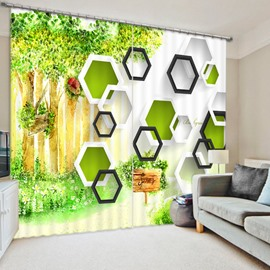 Geometric and Green Tree 3D Printed Polyester Curtain
