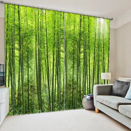 3D Green Bamboos Forest Printed Thick Polyester 2 Panels Living Room Curtain