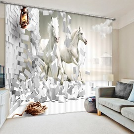 Couple White Horses Running Breaking the Wall 3D Printed Polyester Curtain
