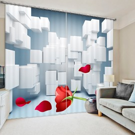 White Cube and Red Rose 3D Printed Polyester Curtain