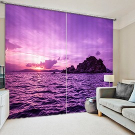 3D Beautiful Sea and Sunrise Romantic Purple Nature Scenery Polyester Curtain Roller Shade