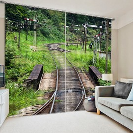 Train Track in the Countryside 3D Printed Polyester Curtain