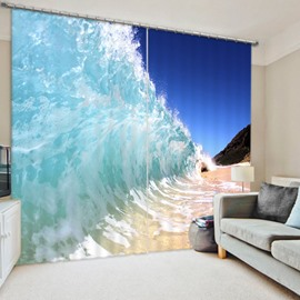 Spectacular Waves in Beach 3D Printed Polyester Curtain